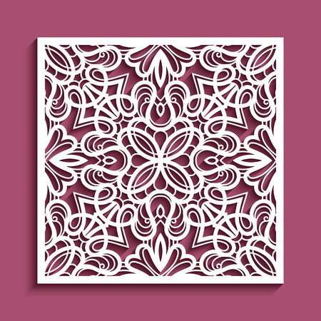 Decorative panel with lace pattern, vector square ornament for laser cutting or wood carving, cutout paper decorative element, elegant background for wedding invitation card