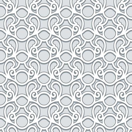 Swirly grey ornament, abstract vector seamless pattern in neutral color Illusztráció