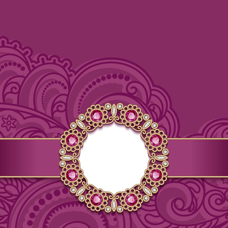 Vintage greeting card with gold jewelry decoration on pink background, vector invitation or announcement template