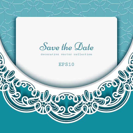 Cutout paper decoration on emerald green background, vector save the date card or wedding invitation template with ornate lace border pattern Illusztráció