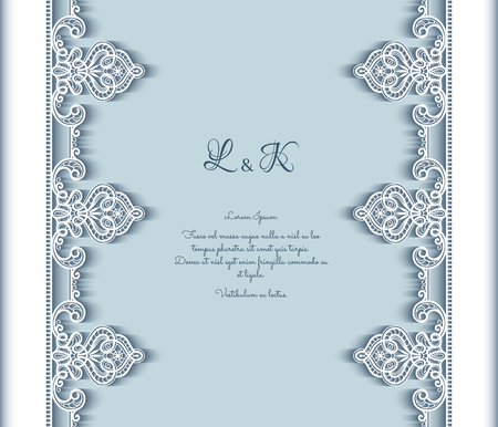 Vintage lace background with cutout paper border pattern, wedding invitation or announcement template, vector decoration for laser cutting