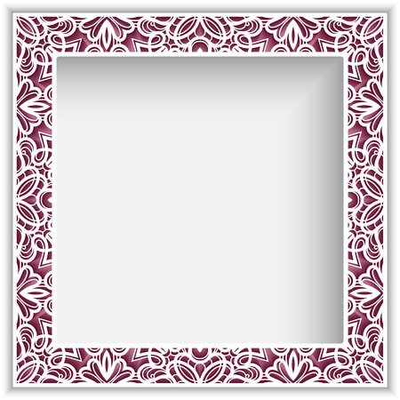 Square photo frame with lace border pattern, vector ornamental template for  cutting