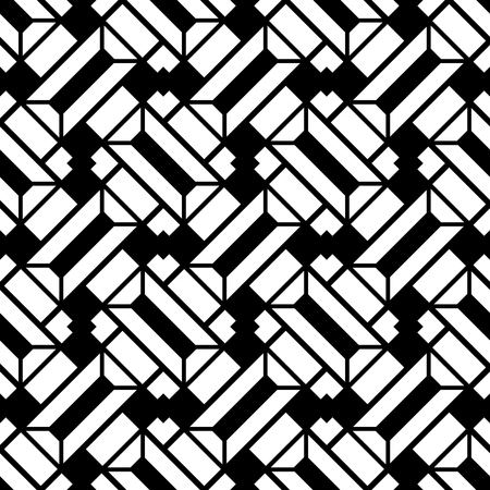 Black and white background, abstract geometric pattern, seamless vector ornament