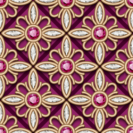 Vintage jewelry gold ornament, vector seamless pattern with diamonds and ruby gems