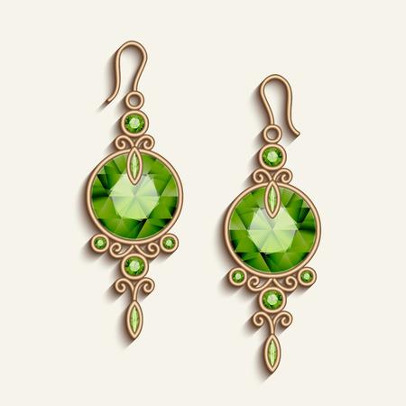 Vintage gold jewelry earrings with green gemstones, jewellery pendants, filigree women's decoration, elegant vector embellishment on white