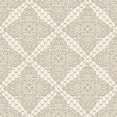 Vintage lace background, elegant vector seamless pattern in light colors