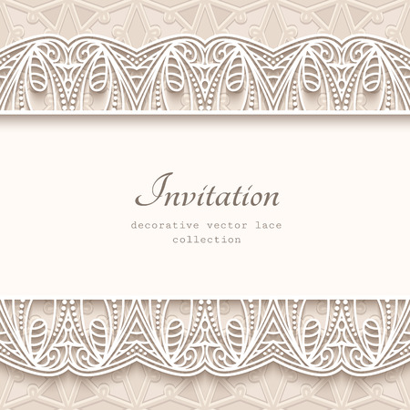 Vintage vector background with lace border ornament, elegant greeting card or wedding invitation template.