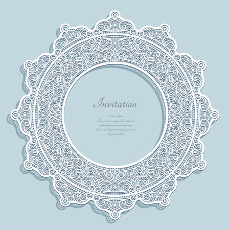 Round vector frame with lace border pattern, cutout paper ornament, curly circle decoration, template for laser cutting. Illusztráció