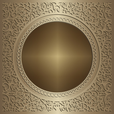 Vintage gold background, ornamental vector frame, decorative metal panel with swirly pattern.