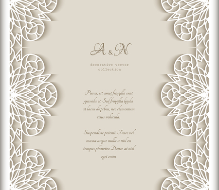 Vintage vector frame with lace border pattern, cutout paper decoration for wedding announcement or invitation design.