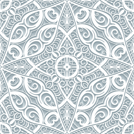 Swirly lace texture, cutout paper ornament, vector seamless pattern in neutral color. Vettoriali