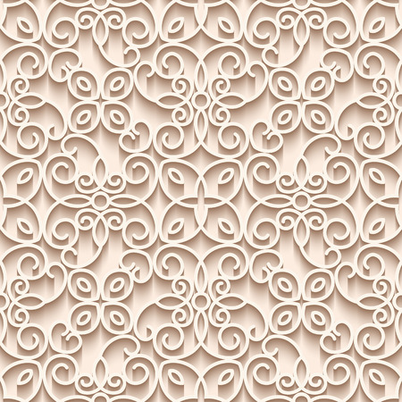Cutout paper background, vector lace texture, seamless pattern in subtle color