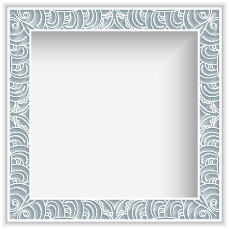 Square vector frame with lace border pattern, vintage ornamental photo frame, elegant decoration for greeting card or wedding invitation design
