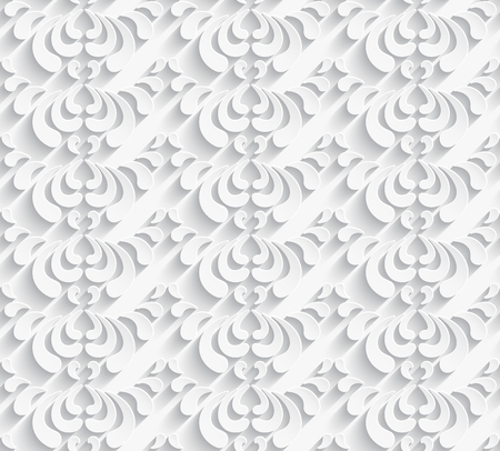 Ornamental white background, seamless vector pattern with cutout paper swirls