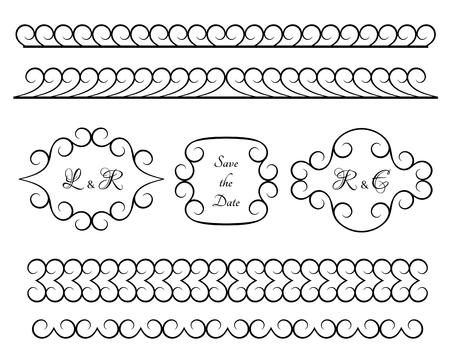 Set of vintage borders and vignettes, vector design elements in retro style, elegant scroll embellishment on white