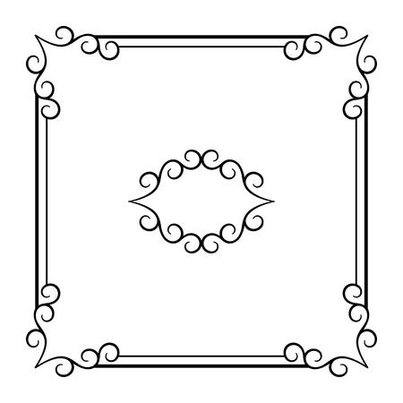 Vintage square frame with swirly corners, vector design element in retro style, elegant embellishment for certificate or invitation design Stock Illustratie