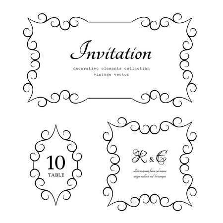 Vintage calligraphic frame set, decorative design elements in retro style, vector embellishment for certificate or invitation design on white Illusztráció