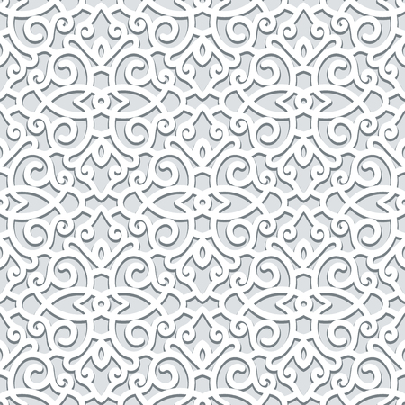 Curly ornament, vector seamless scroll work pattern in grey color, lace texture