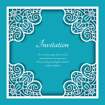 Square vector frame with lace border pattern, cutout paper ornament, template for laser cutting or wood manufacturing, elegant decoration for wedding invitation card