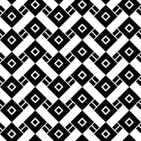 Abstract geometric vector pattern, simple black and white background with seamless ornament of zigzag lines.