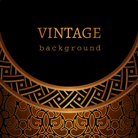 Vintage gold vector background, ornamental frame with geometric border pattern. Illustration