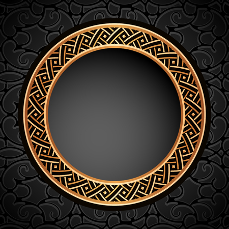 Vintage round vector frame with gold geometric border pattern on ornamental black background, golden label design.