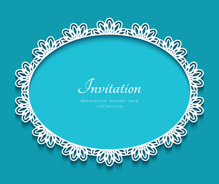 Oval vector frame with lace border pattern, cutout paper ornament, elegant decoration for greeting card or wedding invitation, laser cutting or wood manufacturing template