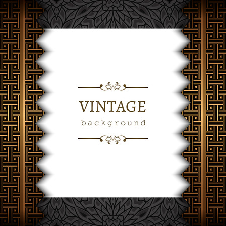 Vintage gold background, ornamental vector frame with golden border lines.