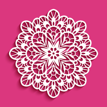 Round lace doily icon Vectores