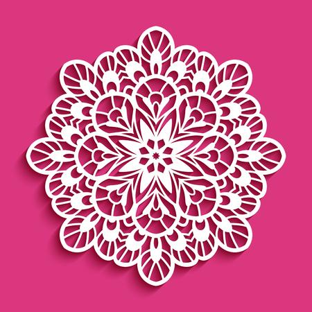 Round lace doily icon Vettoriali