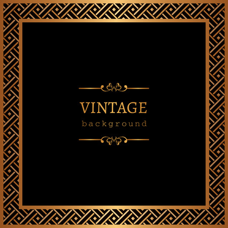 Vintage gold vector background, square ornamental frame on black. Ilustração