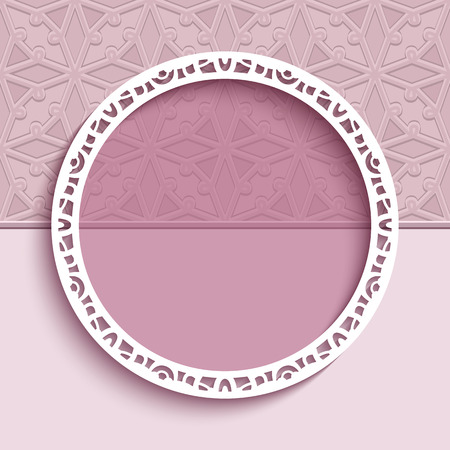 Round vector frame with cutout paper border pattern on pink background. Elegant decoration for wedding invitation or greeting card design.