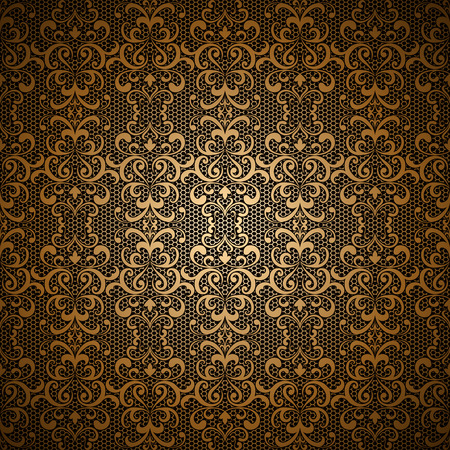 Vintage gold vector background with lace pattern, golden tulle ornament Ilustração