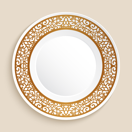 Empty dinner plate with golden ornamental border Ilustração