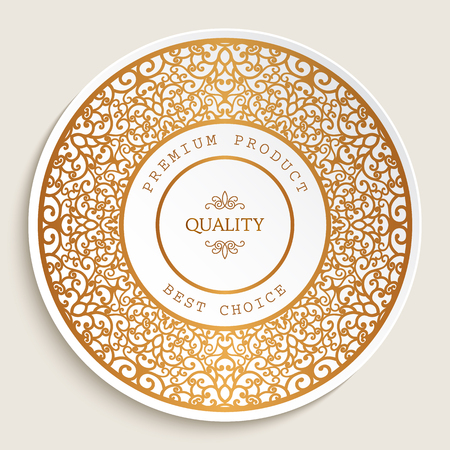 Premium quality label with gold ornamental border, best choice sticker, golden round frame with swirly line pattern Ilustração