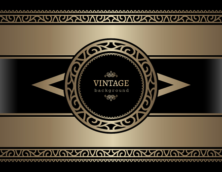 Vintage gold card with ornamental borders on black background, golden vector label design