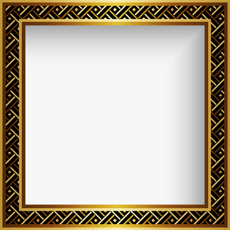 Square gold vector frame with geometric border ornament