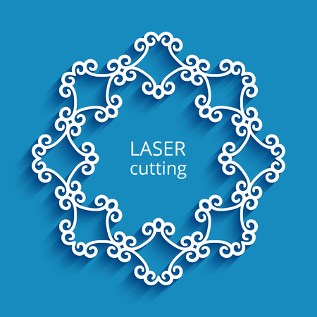 Round vector frame with swirly border ornament, cutout paper circle pattern, decorative template for laser cutting