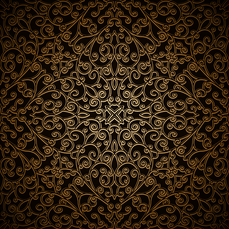 Vintage gold vector background with swirly decorative pattern