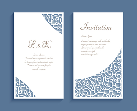 Ornamental panels with lace corner pattern, cutout paper decoration, templates for laser cutting, elegant wedding invitation or save the date card design