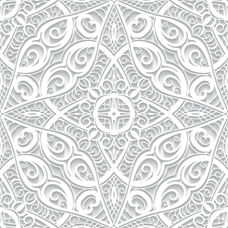 White lace texture, seamless pattern with cutout paper swirls, ornamental curly background Ilustração