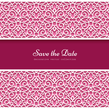 Vintage frame with ornamental lace borders, cutout paper pattern, elegant decoration for wedding invitation or save the date card design, template for laser cutting Ilustração