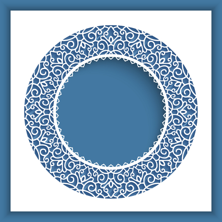 Ornamental vector frame with lace border pattern, cutout paper decoration, template for laser cutting, elegant greeting card or wedding invitation design