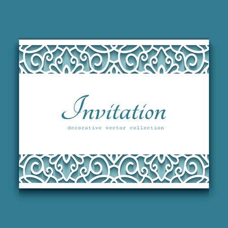 Elegant cutout paper frame with lace border ornament, vector greeting card or wedding invitation template