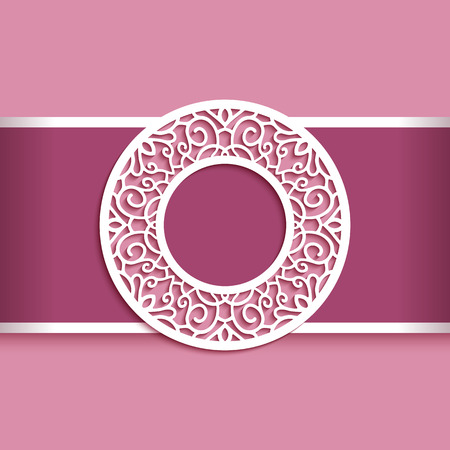Round vector frame with lace border pattern, cutout paper circle decoration, ornamental label, template for laser cutting