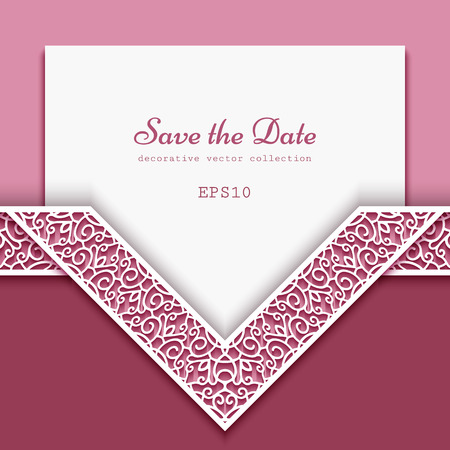 Cutout paper frame with ornamental lace border pattern, elegant decoration for wedding invitation or save the date card design, template for laser cutting