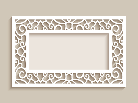 Rectangle frame with ornamental lace border, cutout paper decoration, wedding invitation or greeting card design, laser cutting template