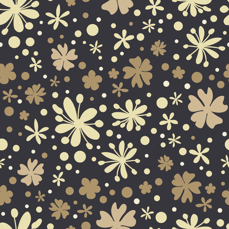 Abstract flowers on black background, seamless floral pattern, repeating ornament in doodle style