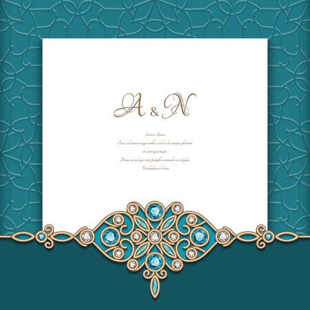 Fond émeraude vintage avec motif de bordure de bijoux en diamant, modèle d'invitation de mariage