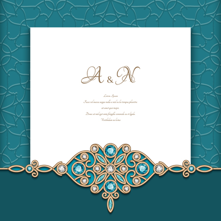 Vintage emerald background with diamond jewelry border pattern, wedding invitation template